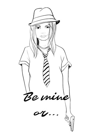 be mine: Be mine or... Funny valentines day card. Pretty fashion girl with gun in sketch style.