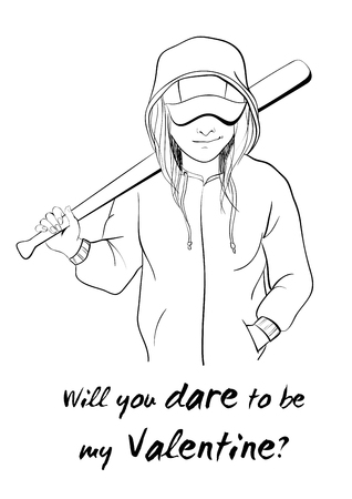 dare: Greeting card design for Valentines Day. Nice girl with a bat. Will you dare to be my Valentine.
