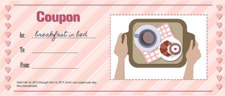 breakfast in bed: Valentine card example. Love coupon for breakfast in bed.