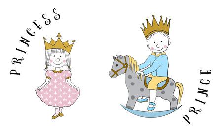 Cartoon principessa e principe in sella a un cavallo a dondolo. Isolati su bianco. simpatici personaggi di carta, notebook, telefoni, accessori, stampa T-shirt, libri per bambini illustrazione. Vettoriali