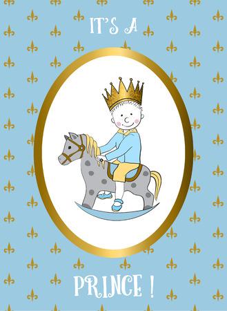 La sua carta di ragazzo con piccole passeggiate principe cavallo a dondolo. Bambino doccia invito. Biglietto di auguri per il primo compleanno. Archivio Fotografico - 52578396