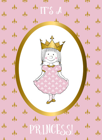 Its a girl card with small princess. Baby shower invitation. Greeting card for the first birthday.