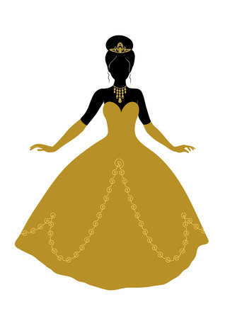 Black silhouette of princess wearing golden crown, necklace, dress and gloves.