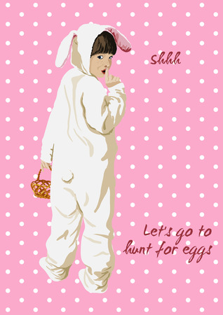 Easter funny card. Lets go to hunt for eggs. Girl in bunny costume with basket. Shhh. Girl presses finger to lips. Hand drawn. Illustration