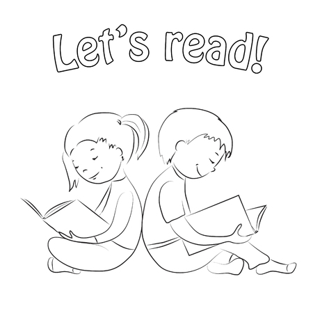 Children sitting back to back. Girl and boy reading books. Outline. Coloring page. Hand drawn. Иллюстрация