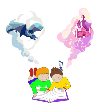 children's story: Children reading a fairytale book. Kids imagination concept. Girl and boy lying on floor. International childrens book day poster. Illustration