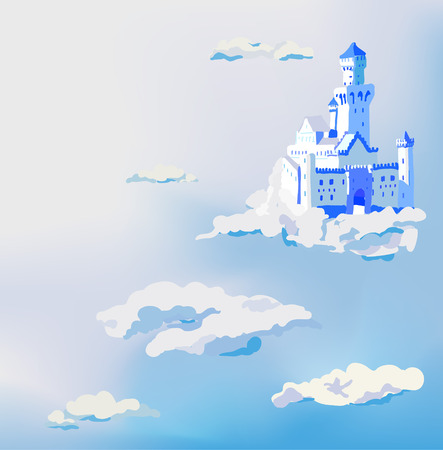 kingdom of heaven: Vector castle in the clouds. Palace in the sky. Dream concept. Illustration