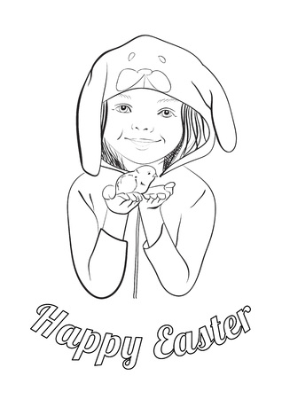 Happy easter holiday greeting vector card with girl in a bunny costume holding chicken. Outline. Coloring page. Vector Illustration