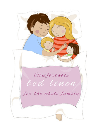 Family of man and woman and two babies sleeping together on white bed hugging each other. Top view. Place for your text.
