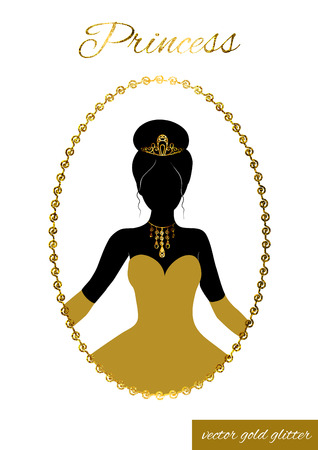 gold silhouette: Princess full face black silhouette in tiara, necklace and ball gown. Queen in gold full-length dress, crown and gloves. In patterned gold glitter frame. Cameo for beauty salon, wedding invitations. Illustration