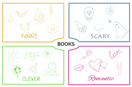 humor: Vector illustration of book categories. Book genres. Horror and romance, science and humor.