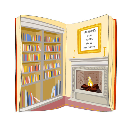 finds: Open book with bookshelf and fireplace picture . Reading finds home for you everywhere. I love reading books concept. Vector illustration.