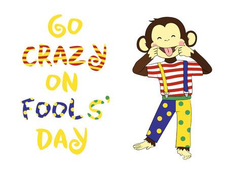 animal idiot: 1 April Fools day. April fool prank. Funny cartoon All Fools Day card, banner.
