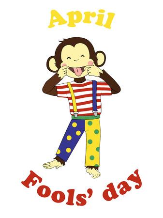 prank: 1 April Fools day. Funny cartoon All fools day card, poster. April fool prank. Monkey clown.