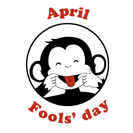 animal idiot: 1 April Fool day. Vector funny cartoon All fools day icon. April fool prank. Ape put out tongue. Black and white.