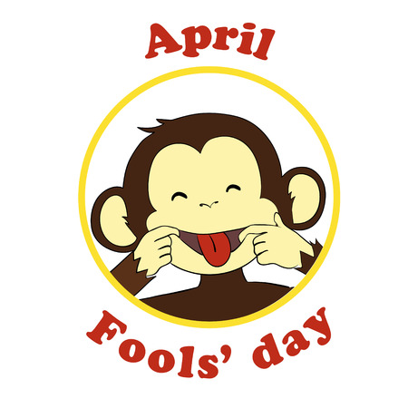 put: 1 April Fool day. Vector funny cartoon All fools day icon. Ape put out tongue. Stock Photo