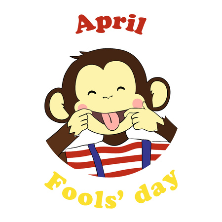 fool: 1 April Fools day. Vector funny cartoon All fools day icon. April fool prank. Ape put out tongue.