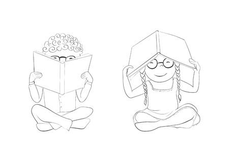 Vector funny kids reading. Boy hiding behind book, girl hiding under book.