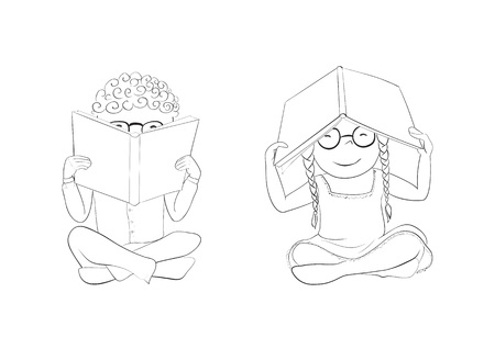 Vector funny kids reading. Boy hiding behind book, girl hiding under book.