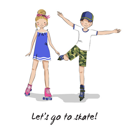 roller: Roller skaters. Skating girl and boy. Cartoon young couple. Teen friends. Lets go to skate.