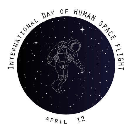 space flight: Internation day of human space flight. Holiday card. Space backround poster. Outer space flyer, banner with line vector doodle objects. Spaceship, shuttle and astronaut.
