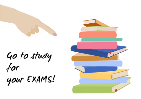 preparation: Examination test poster. Go to study for your exams. Examination preparation. Motivation exam banner. Illustration