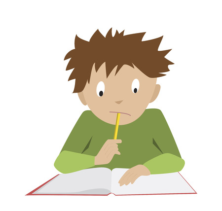 schoolboy: Studying boy. Funny reading student. Flat cartoon vector of thinking schoolboy.