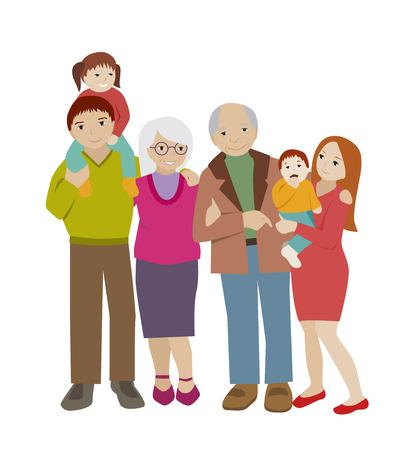 grandchildren: Large family portrait. Parents and children.Grandparents and grandchildren. Flat cartoon vector. Happy extended family. Illustration