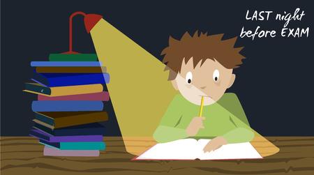 examination stress: Examination test preparation. Exam student stress.  Pre test preparation night. Cartoon vector.