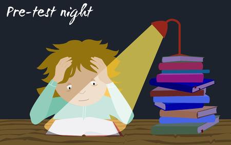examination stress: Examination test preparation. Exam student stress. Last night before exams. Cartoon vector. Girl studying. Illustration