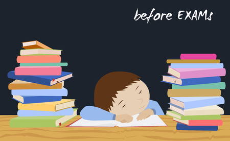 stress test: Tired schoolboy sleeping on books. Examination test preparation. Exam student stress. Night before exams. Cartoon vector. Illustration