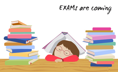 college student: Tired schoolgirl sleeping under a book. Examination test preparation. Exam student stress. Before exams. Cartoon vector. Illustration