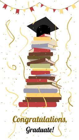 toga y birrete: celebración de la graduación. Universidad, fiesta de graduación de la universidad o invitación de la ceremonia. vector plana. graduación de la tapa en la parte superior de la pila de libros, serpentina y confeti. Diseño de la tarjeta. Vectores