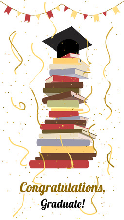 graduation gown: Graduation celebration. College, university graduation party or ceremony invitation. Flat vector. Graduation cap on top of stack of books, serpentine and confetti. Greeting card design.