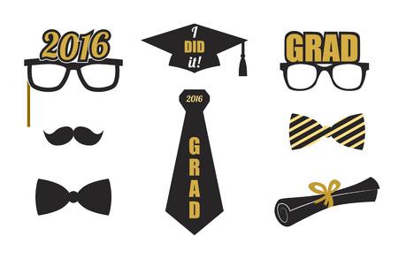 Graduación 2016 conjunto de elementos. Colección de oro y negro iconos para la fiesta de graduación o invitación de la ceremonia, diseño de la tarjeta de felicitación. Vector plana. Gafas, sombrero de graduación y diploma, lazo. Ilustración de vector