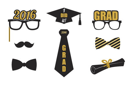graduation party: Graduation 2016 elements set. Collection of gold and black icons for graduation party or ceremony invitation, greeting card design. Vector flat. Glasses, graduation hat, and diploma, tie.