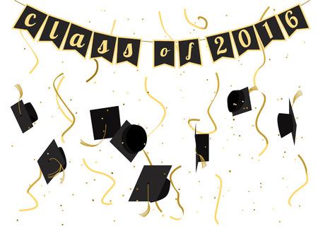 Graduación 2016 celebración. Ceremonia de graduación. Invitación de la fiesta de graduación. Vector de diseño plano. Casquillos de la graduación, serpentinas y confeti. Diseño de la tarjeta.