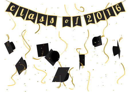 Graduation 2016 celebration. Graduation ceremony. Graduation party invitation. Vector flat design. Graduation caps, serpentine and confetti. Greeting card design.