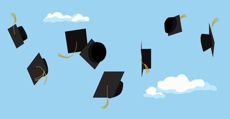 Viering van de graduatie. Diploma uitreiking. Afstuderen partij. Vector plat design. Afstuderen caps hoog in de lucht. Wenskaart design. Vector Illustratie