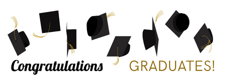Graduation celebration. Graduation ceremony. Graduation party. Hats off.  Graduation caps high in the sky. Greeting card design. Vector flat design.