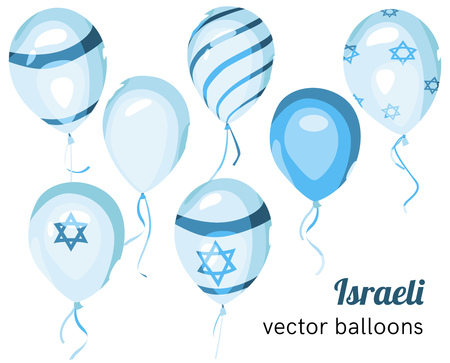 israeli: Set of Israeli styled vector balloons. Flag of Israel on balloon. Celebration elements. Independence Day. Balloons on the feast of the national day. Illustration