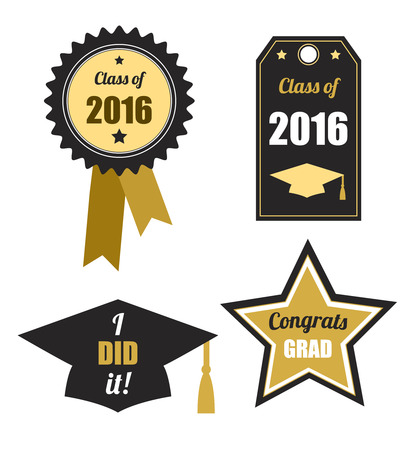 graduation party: Graduation logos set. Class of 2016. Collection of gold and black icons for graduation party or ceremony invitation, greeting card design. Vector flat. Logos and labels.