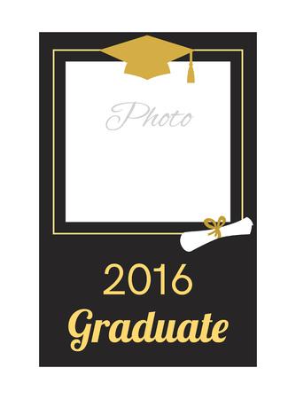 graduation party: Student 2016 graduation photo frame. Greeting card design. Graduation celebration. Graduation ceremony  party invitation. Vector flat design.