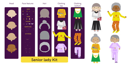 citizens: Set of senior citizens. Flat cartoon vector. Old women constructor. Illustration