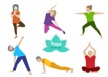 exercising: Yoga for seniors set. Collection of stretching, balance exercises for older people. Sport activity for elderly. Vector flat set. Senior healthy lifestyle.