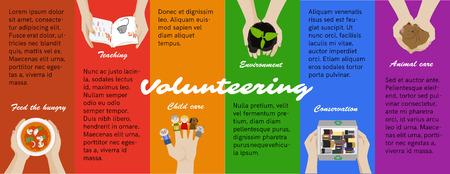 niños reciclando: Oportunidades para voluntarios. Trabajo voluntario. voluntario vector cartel programa, la infografía. Reciclaje, niños y cuidado de los animales. enseñanza niño, ayudando a la conservación del medio ambiente y sin hogar.