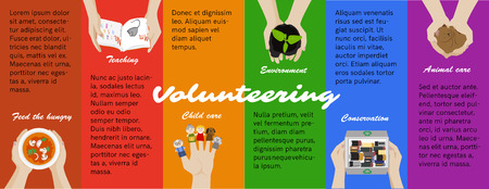 volunteering: Volunteer opportunities. Voluntary work. Vector volunteering program poster, infographics. Recycling, children and animal care. Kid teaching, helping homeless and environment conservation.