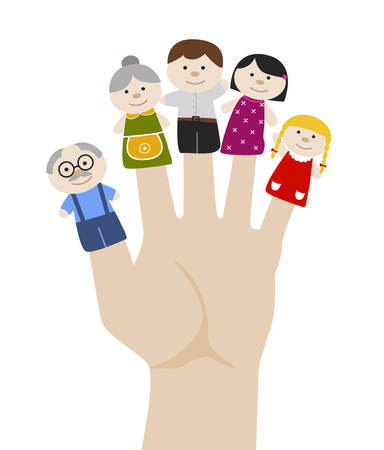 Family finger puppets. Grandparents and parents with child. Cartoon vector illustration of happy puppet family. Togetherness, family love concept. Stock Illustratie