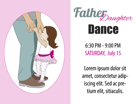 father daughter: Dad daughter dance. Toddler daughter dancing on fathers feet. Vector illustration. Card, poster, dance invitation.