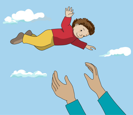 hands in the air: Father or mother hands throwing up happy child in the air. Daddy and son outdoor fun. Vector. Illustration